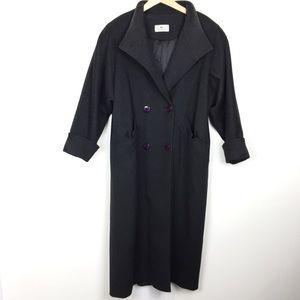 Vintage double breasted wool coat 80s grey jacket